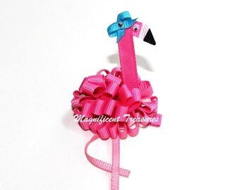 Pink Flamingo Loopy Puff Bow