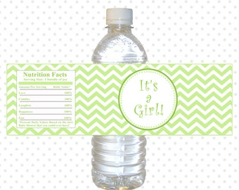 INSTANT DOWNLOAD Green Chevron Its A Girl Baby Shower Water Bottle Labels Wraps - Zig Zag Baby Shower Favors Baby Girl Shower Decorations