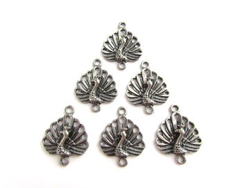 Peacock Connector Pendants / Charms