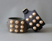 Soft Cowhide Bracelet with Giant Gold Stud(Khaki)