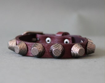 Soft Cowhide Bracelet with Giant Black Stud(Burgandy)