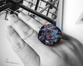 Boho felt ring. Felted accessories. Large felt ring. Solitude