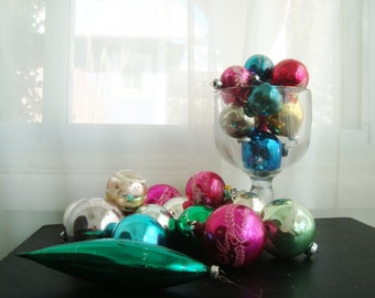 Large Mixed Set of 25, 1960's Mercury Glass Christmas Bulbs