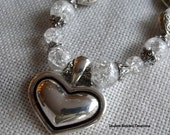 Hearts and Love Necklace And Earring Cracked Glass