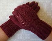 Hand knitted warm soft women gloves
