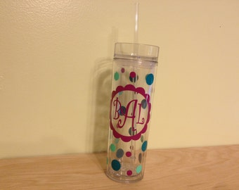 Personalized w/name acrylic tumbler, polka dots, Available in skinny, standard, sport bottle, mason, kiddie cup & XL cup