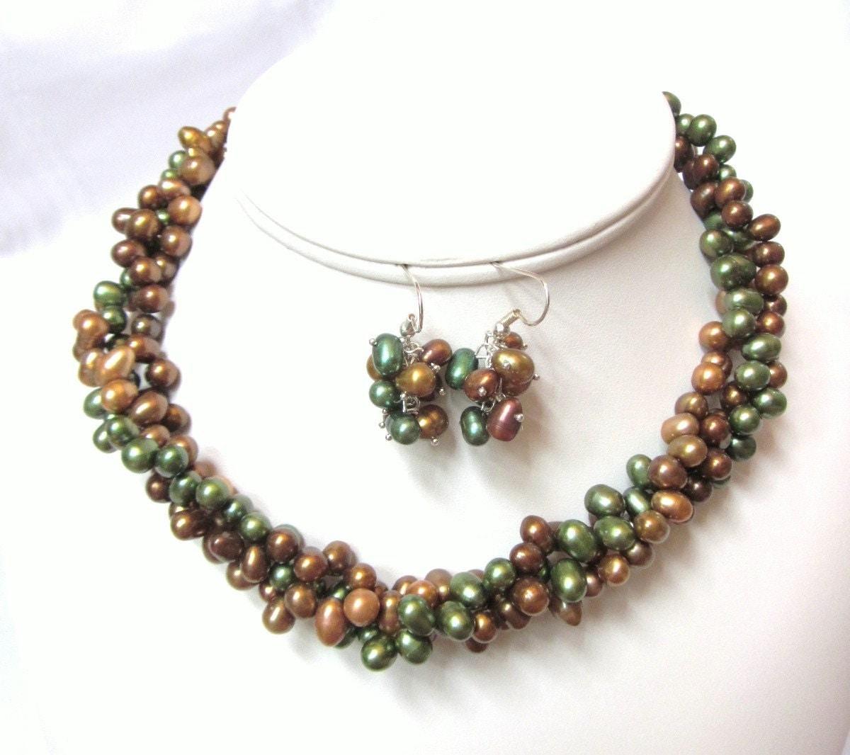 Torsade Necklace: Pearl Torsade Necklace Dark Green And Shades Of Brown Fresh