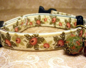 Safety Cat Collar - Toy Dog Collar - Cat Collar - Small Dog Collar - Pet Charm - Cat Charm - Coral Flowers - Gemstone Charm - Antique Brass