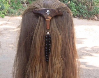 Fashion Week Hair Barrette,hand made from olive wood, with alloy skull and obsidian gemstones