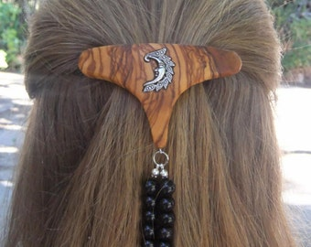 Fashion Week Hair Barrette,Lesvos olive wood, with inlaid moon and obsidian gemstones