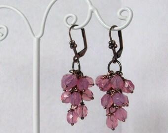 Light Pink Glass Beaded Dangle Earrings, Light Pink Chandelier Earrings, Gift For Mom, Party Earrings, 2 Inches, Under 25