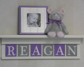 """Nursery Decor Girl, Purple Gray Nursery Shelves - 24"""" Linen Off White Shelf With 6 Wooden Letter Plaques in Lilac and Gray - REAGAN"""