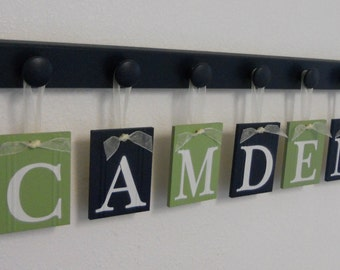 Childrens Personalized Decor Name Signs - 6 Peg Hooks and Babies Personalized Name CAMDEN Navy Blue / Light Green. Baby Boys Room Wall Decor