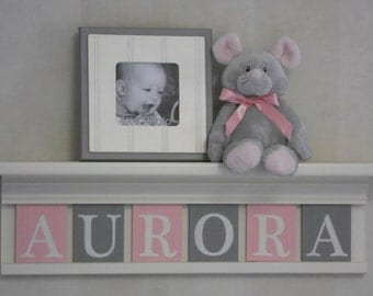Baby Name Sign | Baby Nursery Shelf | Light Pink and Gray | Personalize Letter Blocks | Nursery Painted Shelf White