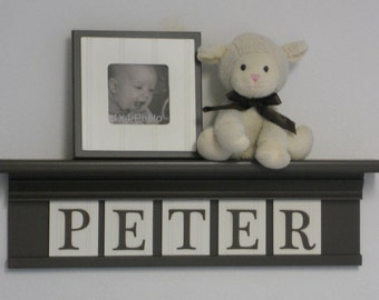 Baby Boy Nursery Decor  Wood Shelf Sign Personalized on Chocolate Brown Shelf with Wooden Letters