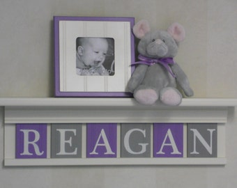 Nursery Decor Girl, Purple Gray Nursery Shelves - White or  Off White Shelf With Wooden Letter Plaques in Lilac and Gray