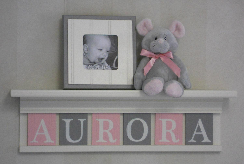 Baby Name Sign Baby Nursery Shelf Light Pink and Gray