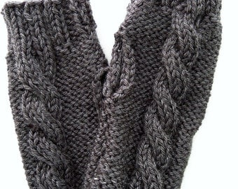 Handknit Heather Gray Cabled Fingerless Texting Mittens or Gloves, gift, stocking stuffer, women's, teens