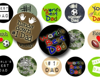 Fathers Day bottle cap images-1 inch circle-Digital download-Bottlecaps-Digital collage sheet-Scrapbooking-Magnets-Pendants-Planner stickers