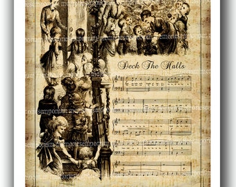 Christmas Carol Song Antique Music Digital Collage Sheet Deck The Halls Victorian Page Decoupage Holiday DIY Shabby Chic Decor CIJ 367