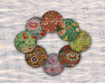 Chinese Circles Asian Inchies Oriental Chinois Rounds Digital Collage Sheet 1 One Inch for Jewelry Buttons Bottle Caps and Magnets 538
