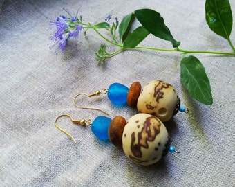 HOU African Blue recycled glass and Raffia palm nut earrings by Fianaturals