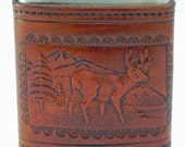 Leather Covered Flask with Embossed Deer Scene