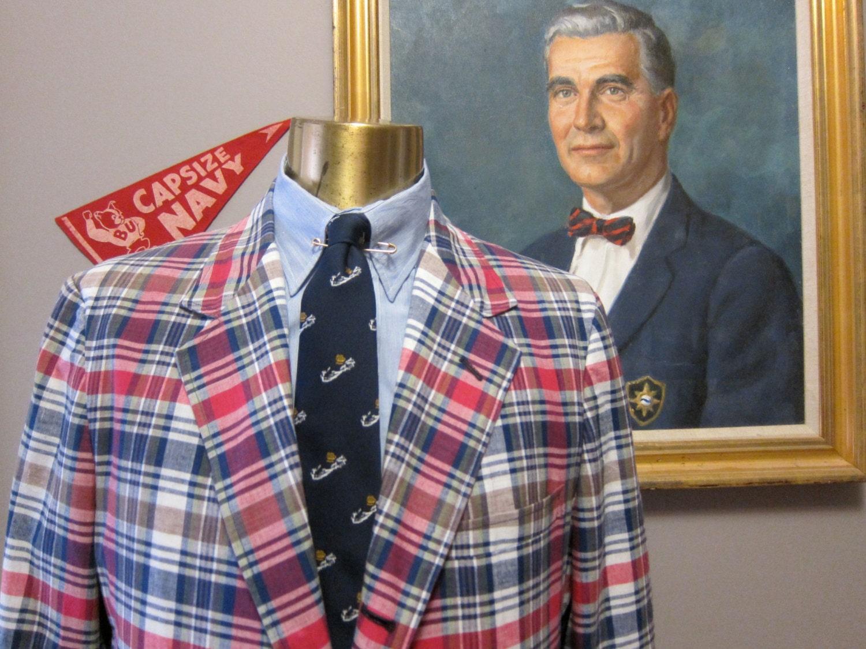 Brooks Brothers Madras Jacket Sport Coat 44r Unstructured Sack