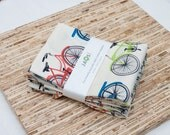 Large Cloth Napkins - Set of 4 - (N1293) - Bicycles Modern Reusable Fabric Napkins
