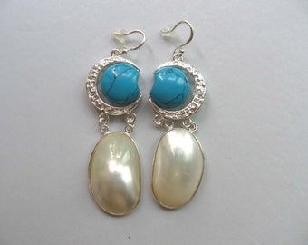 Beautiful White Shell Blue Turquoise Earrings