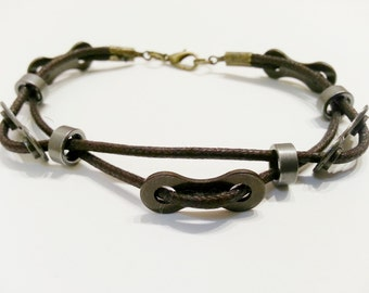 Bike Chain link and spacer Double Corded Bracelet Mens Unisex - UBDBCD01