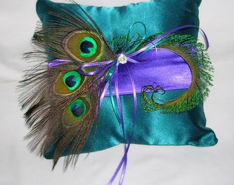 Peacock Wedding Ring Bearer Pillow, Dark Teal and Royal Purple With Peacock Eye Feathers and a Crystal Center