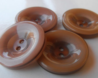 """4 Gingerbread Brown Shiny Rim Round Buttons Size 1 1/16"""""""