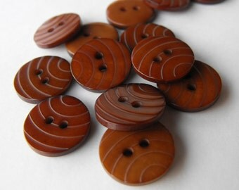 29 Chocolate Brown Basketball Round Buttons Size 9/16""