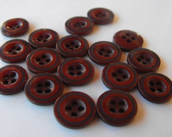 """Dollar Sale 17 Brown with Black Stitching Round Buttons Size 7/16"""""""