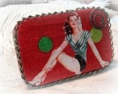 SALE, Altered Tin box, Vintage Image Pin Up Girl, Red