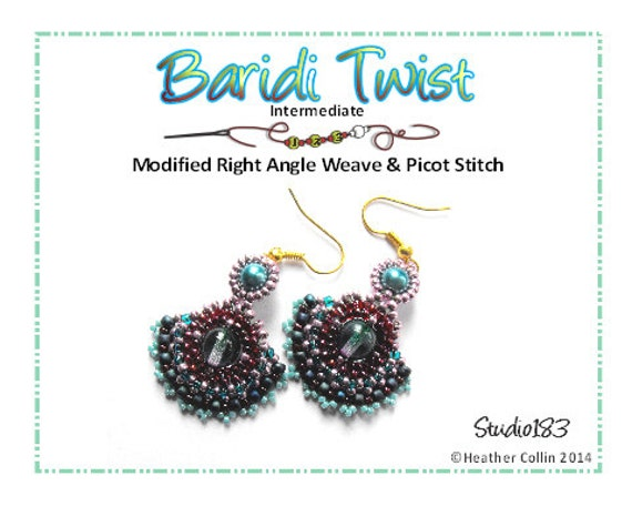 Beading Pattern, Instructions, Tutorial, Right Angle Weave, Fan Shaped Fancy Dainty Beaded Earrings BARIDI TWIST