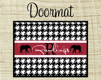 Custom Personalized Doormat, 18x24 24x36 or 36x60 Floor mat Houndstooth - Crimson or Any Color(s)