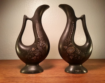 Matched Pair of Victorian Style Etched Metal Vases