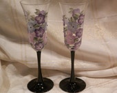 Champagne Toasting Flute Glasses - Hydrangea purple and blue