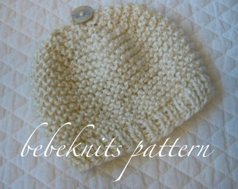 Bebeknits Simple French Style Garter Stitch Baby Hat Knitting Pattern in 3 SIzes