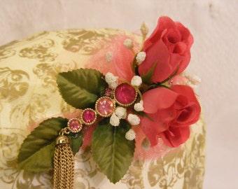 Hot Pink Rose Hair Clip with Pink Rhinestone Pin Embelishment