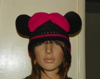 Minnie Mouse Hat  with a Hot Pink or Red Bow and Trim Sizes 0M-Adult Large