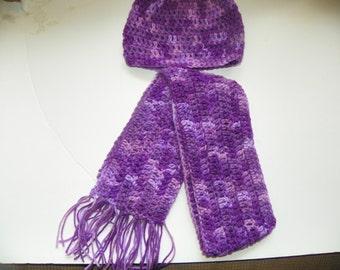 Childs Scarf and Hat Set Purple Tones Color
