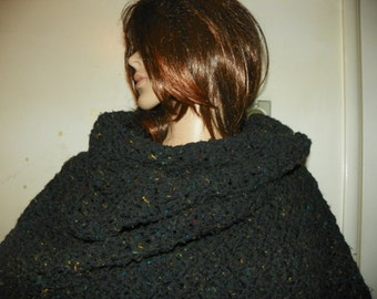 Black  Shawl Wrap Rectangle  My Best Seller by SusiesKorner Perfect for Gift  Hand Crochet