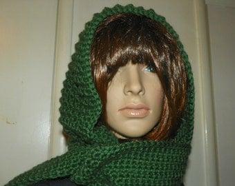 Green Hooded Scarf  Stunning Silky  Green Hood Scarf all in One Very Elegant  Hand Crochet