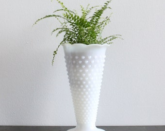 Vintage Milk Glass Vase // Large Hobnail White Glass Vase Milkglass Planter