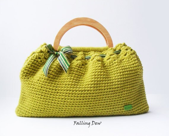 Crochet Bag, FREE GIFT EARRINGS/ Summer Bag, Green Handbag, D shaped ...