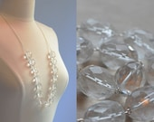 Quartz Necklace Bride Wedding Bridal Crystal Long Bold Silver Plated Chain Rustic Flapper Inspired