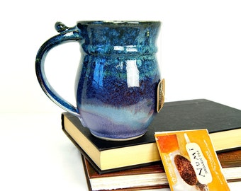Lavender/Black/Blue Coffee Mug, Rounded Smooth Surface